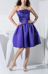 Plain Baby Doll Strapless Backless Satin Knee Length Party Dresses
