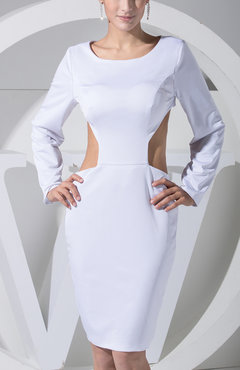 White Y Column Long Sleeve Backless Satin Club Dresses