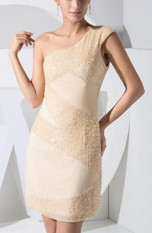 Cream elegant column one shoulder sleeveless mini wedding for One shoulder dress for wedding guest