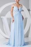 Sexy Empire V-neck Chiffon Sweep Train Pleated Evening Dresses
