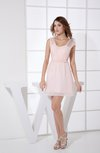 Informal Scoop Sleeveless Zip up Chiffon Ruching Party Dresses