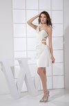 Sexy Asymmetric Neckline Backless Mini Ruching Cocktail Dresses
