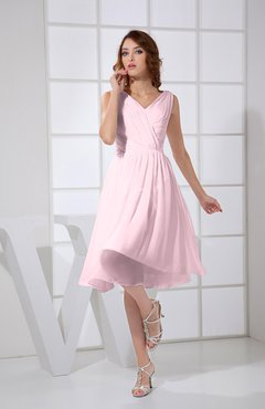 Blush Plain A-line V-neck Sleeveless Knee Length Prom Dresses