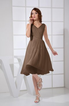 Brown Plain A-line V-neck Sleeveless Knee Length Prom Dresses