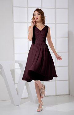 Burgundy Plain A-line V-neck Sleeveless Knee Length Prom Dresses