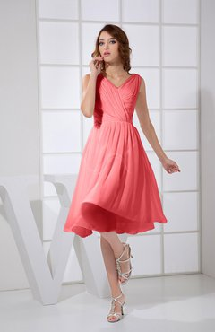 Coral Plain A-line V-neck Sleeveless Knee Length Prom Dresses