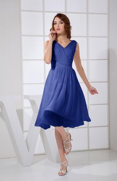 Electric Blue Plain A-line V-neck Sleeveless Knee Length Prom Dresses