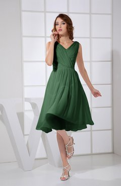 Hunter Green Plain A-line V-neck Sleeveless Knee Length Prom Dresses