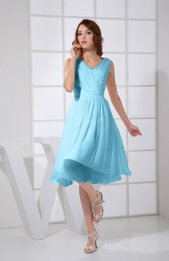 Light Blue Plain A-line V-neck Sleeveless Knee Length Prom Dresses
