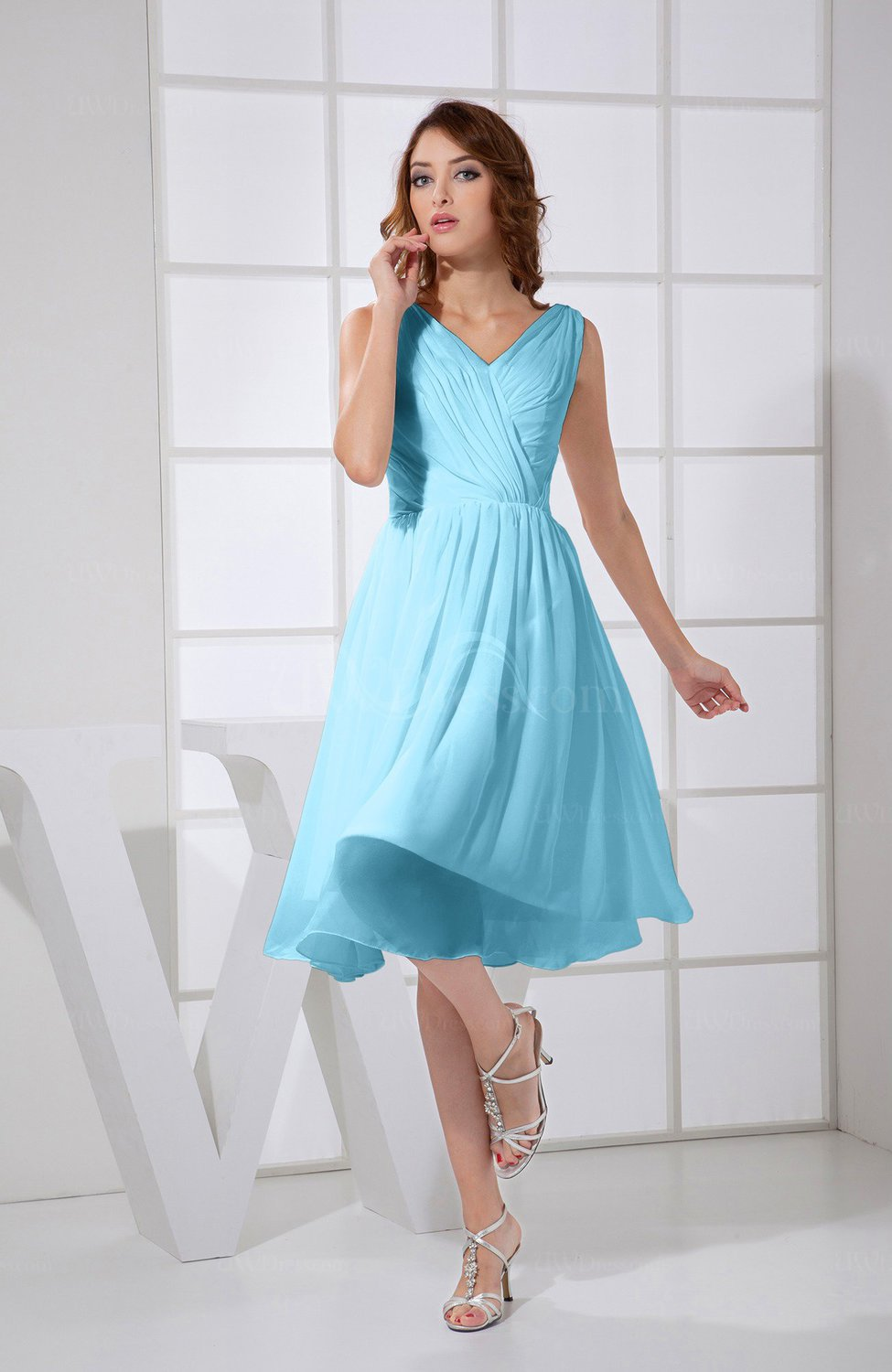 Light Blue Plain A-line V-neck Sleeveless Knee Length Prom Dresses ...