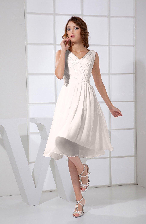 Light pink plain a line v neck sleeveless knee length prom for Pastel pink dress shirt