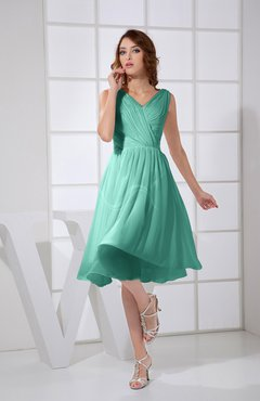 Mint Green Plain A-line V-neck Sleeveless Knee Length Prom Dresses