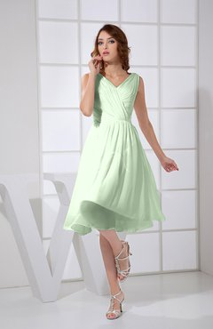 Pale Green Plain A-line V-neck Sleeveless Knee Length Prom Dresses