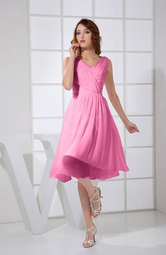 Pink Plain A-line V-neck Sleeveless Knee Length Prom Dresses