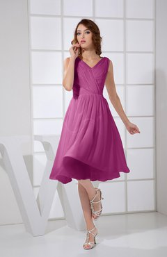 Raspberry Plain A-line V-neck Sleeveless Knee Length Prom Dresses