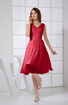 Red Plain A-line V-neck Sleeveless Knee Length Prom Dresses