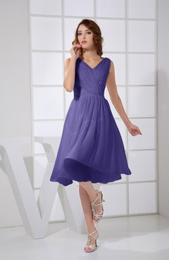 Royal Purple Plain A-line V-neck Sleeveless Knee Length Prom Dresses