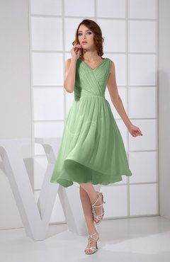 Sage Green Plain A-line V-neck Sleeveless Knee Length Prom Dresses