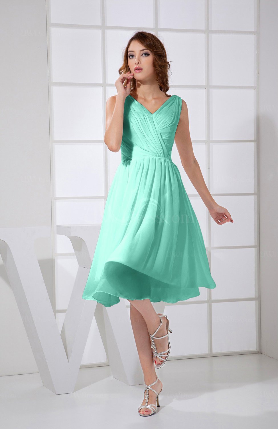 Seafoam Green Plain A-line V-neck Sleeveless Knee Length Prom ...