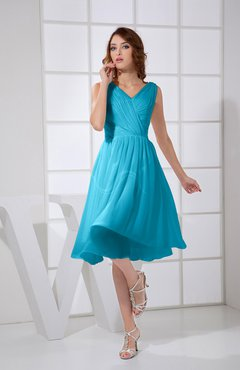 Teal Plain A-line V-neck Sleeveless Knee Length Prom Dresses
