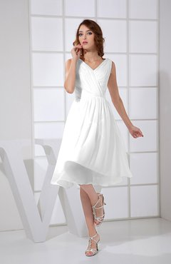 White Plain A-line V-neck Sleeveless Knee Length Prom Dresses