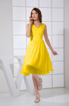 Yellow Plain A-line V-neck Sleeveless Knee Length Prom Dresses