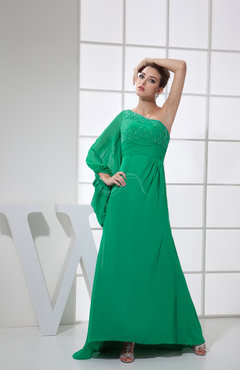 Casual Column One Shoulder Long Sleeve Chiffon Beading Prom Dresses