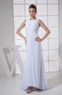 White Modest Outdoor Column Bateau Zip up Brush Train Ruching Bridal Gowns