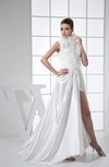 Sexy A-line Zip up Elastic Woven Satin Lace Prom Dresses