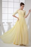 Vintage A-line Elbow Length Sleeve Chiffon Brush Train Beaded Graduation Dresses