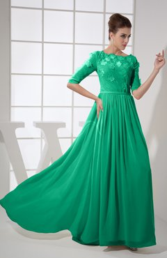 Sea Green Vintage A Line Elbow Length Sleeve Chiffon Brush Train Beaded Graduation Dresses