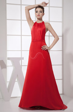 Red Sexy A-line Halter Sleeveless Backless Brush Train Prom Dresses