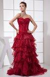 Modern Sleeveless Zipper Organza Court Train Pleated Party Dresses