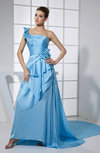 Elegant Asymmetric Neckline Elastic Woven Satin Panel Train Pleated Prom Dresses