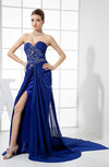 Gorgeous Column Sweetheart Sleeveless Chiffon Court Train Prom Dresses
