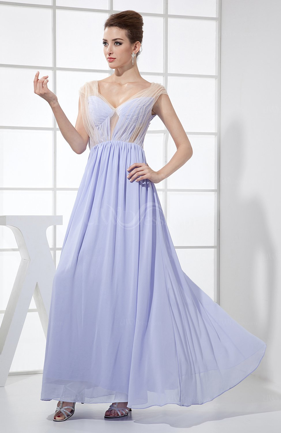 Lavender Sexy A Line Sheer Sleeveless Chiffon Ankle Length
