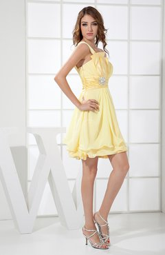 Cute Backless Chiffon Mini Ruching Graduation Dresses