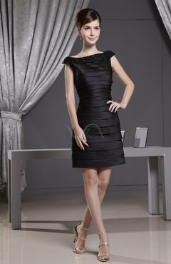 Black Elegant Sheath Zipper Satin Short Bridesmaid Dresses