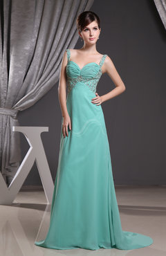 Modern A-line Sleeveless Backless Brush Train Evening Dresses