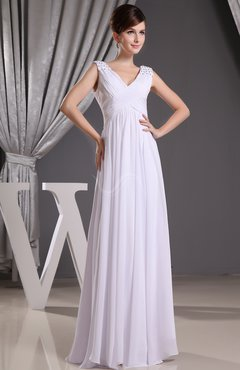 White Fairytale Church Sheath V-neck Floor Length Ruching Bridal Gowns