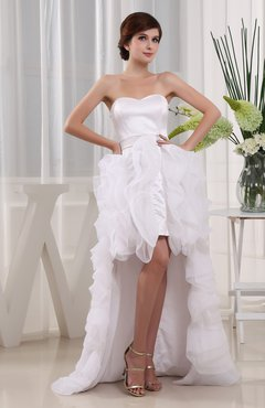 Gorgeous Garden Column Sweetheart Sleeveless Organza Knee Length Bridal Gowns