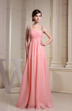 Coral Casual Thick Straps Sleeveless Chiffon Floor Length Beading Graduation Dresses