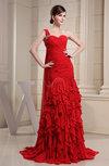 Gorgeous One Shoulder Sleeveless Zip up Court Train Ruching Evening Dresses