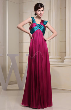 Plain Empire Thick Straps Chiffon-Satin Ribbon Graduation Dresses