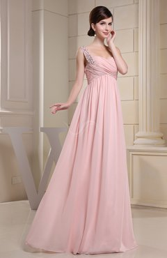 Blush Cute Sleeveless Chiffon Floor Length Ruching Graduation Dresses