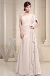 Plain A-line Short Sleeve Half Backless Floor Length Ruffles Bridesmaid Dresses