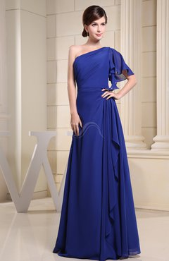 Electric Blue Plain A-line Short Sleeve Half Backless Floor Length Ruffles Bridesmaid Dresses