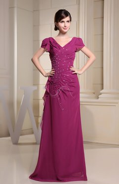 Vintage Column Short Sleeve Chiffon Beading Bridesmaid Dresses