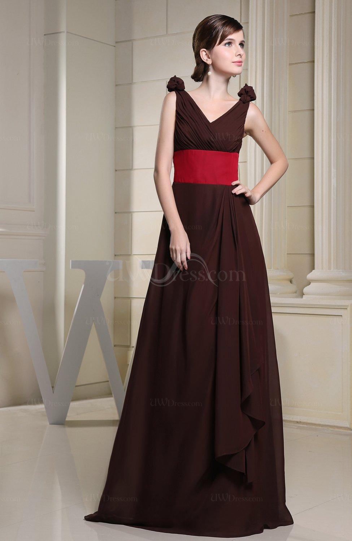 Vintage A Line Zip Up Chiffon Floor Length Bridesmaid Dresses