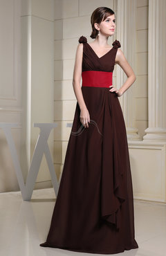 Burgundy Vintage A-line Zip up Chiffon Floor Length Bridesmaid Dresses